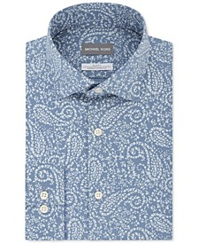 Men's Slim-Fit Non-Iron Airsoft Performance Stretch Blue Print Dress Shirt