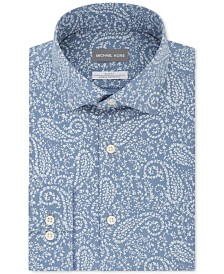 Michael Kors Men's Slim-Fit Non-Iron Airsoft Performance Stretch Blue Print Dress Shirt