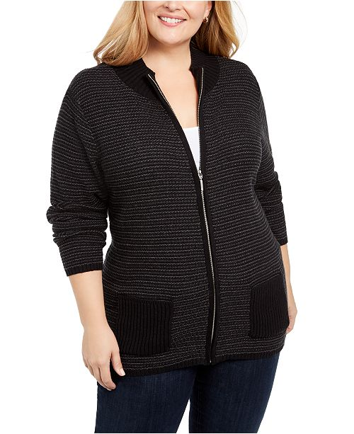 Karen Scott Plus Textured Zip-Front Cardigan, Created for Macy's