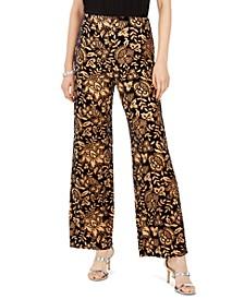 Botanical-Print Velvet Pants, Created For Macy's