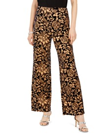 28th & Park Botanical-Print Velvet Pants, Created For Macy's