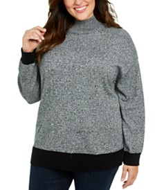 Karen Scott Plus Size Mock Neck Cotton Sweater, Created For Macy's