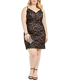 Trendy Plus Size Glitter Lace Bodycon Dress