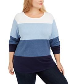 Karen Scott Plus Size Cotton Colorblocked Sweater, Created For Macy's