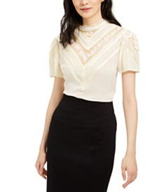 Nanette Lepore Embroidered Lace-Top