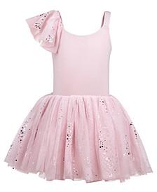 Little & Big Girls Single-Sleeve Sparkle-Mesh Leotard Dress