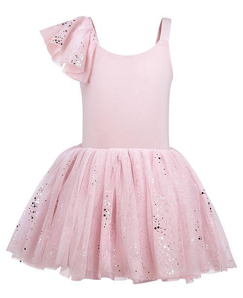 Flo Dancewear Little & Big Girls Single-Sleeve Sparkle-Mesh Leotard Dress