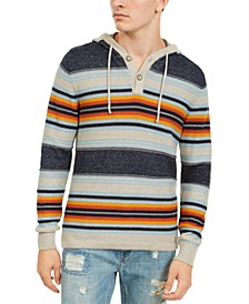 Men's Striped Henley Hoodie, Created For Macy's