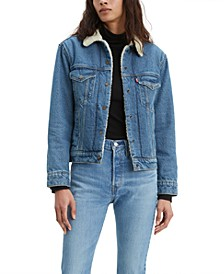 Denim Trucker Jacket With Faux-Sherpa Trim