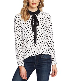 Dot-Print Collared Top