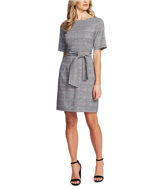 CeCe Plaid Belted Dress