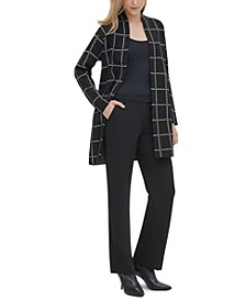 Printed Open-Front Longline Cardigan