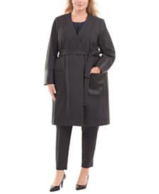Calvin Klein Plus Size Leather-Trim Jacket, Pleated Top & Slim-Leg Pants