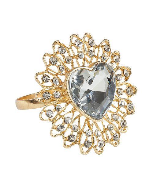 Saro Lifestyle Jeweled Heart Napkin Ring, Set of 4