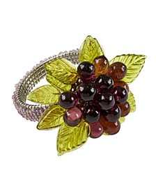 Flower and Leaves Design Beaded Napkin Ring, Set of 4