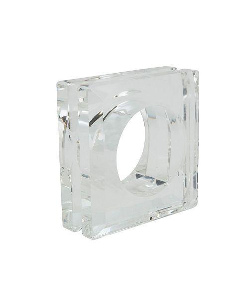 Saro Lifestyle Glass Crystal Doubled Block Napkin Ring, Set of 4