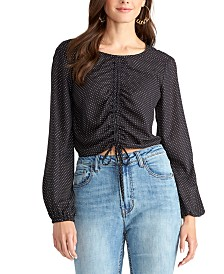 RACHEL Rachel Roy Dorinda Dot-Print Gathered-Front Top