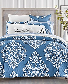 Outline Damask Cotton 300-Thread Count 3-Pc. King Duvet Set, Created for Macy's