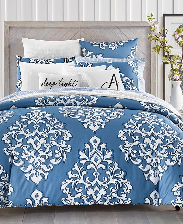 Charter Club Outline Damask 300-Thread Count 2-Pc. Twin Comforter Set, Created for Macy's