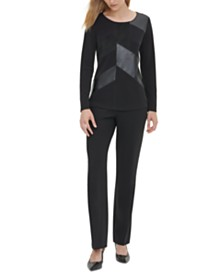Calvin Klein Mixed-Media Scoop-Neck Top