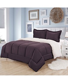 Sweet Home Collection Sherpa 3-Pc. Full/Queen Comforter Set
