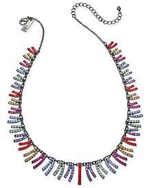 "INC Hematite-Tone Multicolor Pavé Curved Bar Collar Necklace, 16"" + 3"" extender, Created For Macy's"