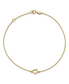Polished Heart Anklet in 14k Yellow Gold