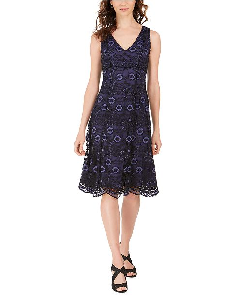 Adrianna Papell V-Neck Floral Lace Dress