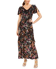 INC Floral-Print Velvet Maxi Dress, Created For Macy's