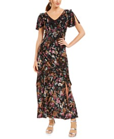 I.N.C. Floral-Print Velvet Maxi Dress, Created For Macy's
