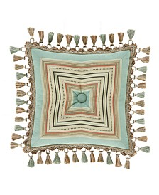 "Victoria   Turquoise Turquoise 18"" Square Decorative Throw Pillow"