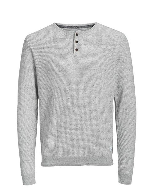 Jack & Jones Men's Autumn Long Sleeved Grandad Sweater With Contrast Details