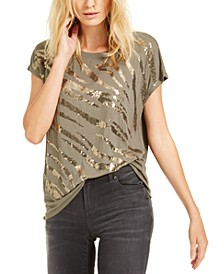 INC Sequin Zebra T-Shirt, Created For Macy's