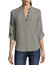 Gingham Roll Tab Blouse