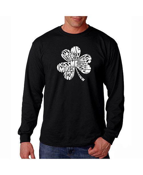 LA Pop Art Men's Word Art Long Sleeve T-Shirt - Kiss Me I'M Irish