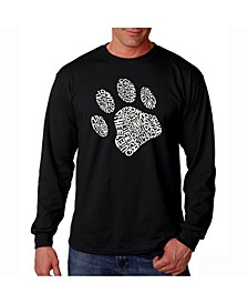 Men's Word Art Long Sleeve T-Shirt - Dog Paw