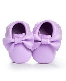 Baby Girl Bow and Fringe Moccasins