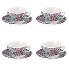 Kingsley Teal Teacup & Saucer, Set of 4