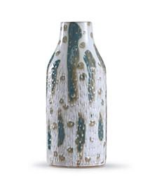 Romani Sage Textured Green and White Glazed Ceramic Vase