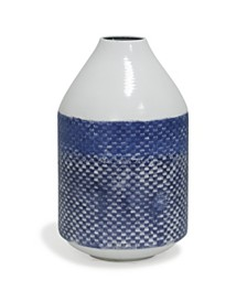 White and Blue Distress Traditional Checkered Metal Vase