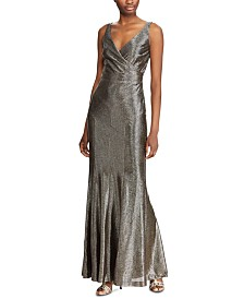 Lauren Ralph Lauren Metallic Sleeveless Gown