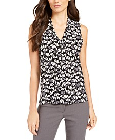 Printed V-Neck Sleeveless Tie Blouse