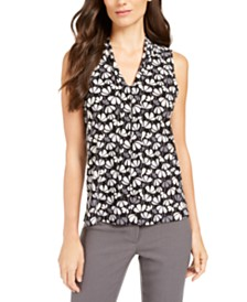 Anne Klein Printed V-Neck Sleeveless Tie Blouse