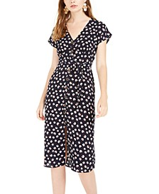 Juniors' Floral-Print Button-Front Midi Dress