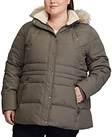 Plus-Size Interior-Drawstring Down Jacket, Created for Macy's
