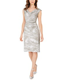 Cowlneck Abstract-Print Sheath Dress