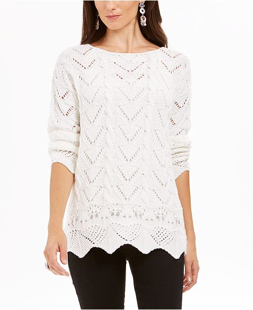 Style & Co Pointelle-Knit Scalloped-Hem Sweater, Created For Macy's