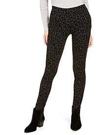 Cheetah Flocked Ponté-Knit Leggings, Created for Macy's