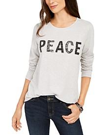Petite Peace Graphic Sweatshirt, Created For Macy's