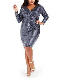 Plus Size Sequin Wrap Dress